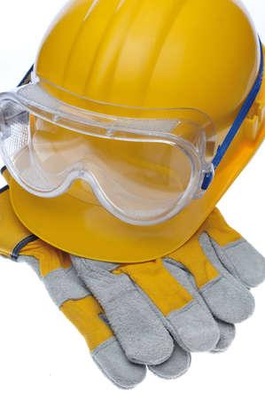 Construction hard hat helmet, gloves, glasses photo