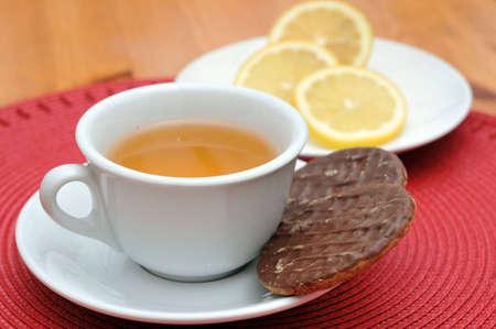 Cup of tea with slice of lemon