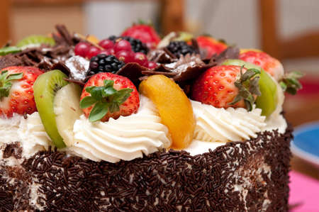 Studio photography cake with cream and fruit