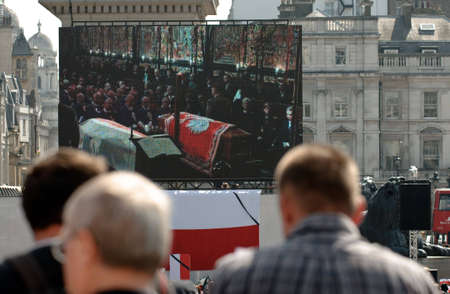 London - APRIL 18: Poland mourns the victims of a plane crash near Smolensk in which the Polish president Lech Kaczynski was killed with his wife Maria Kaczynska. April 18, 2010 in London, UK    To many Polish people common to Trafalgar Sqare in London.Ph Editorial