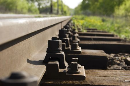 rail route: the nuts on the rail route Stock Photo