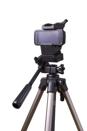 mobile phone on a tripod ready to capture photo