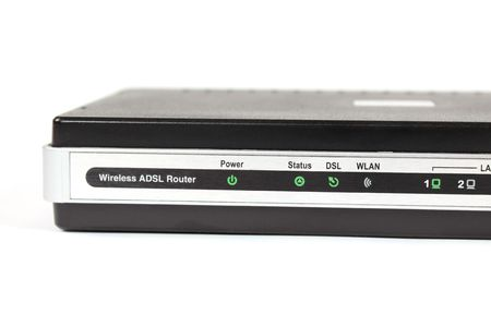 adsl: Wireless ADSL router on white background Stock Photo