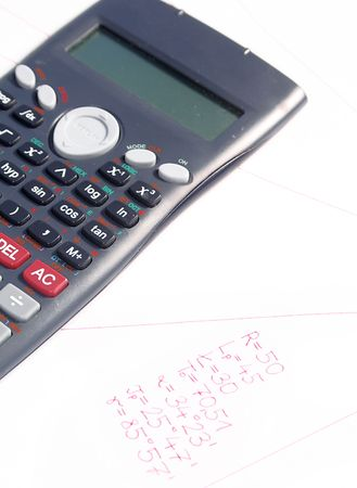 Business accessories on a background of project and numbers. photo