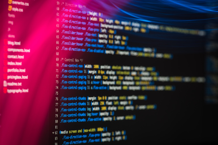 Code development screen. Web design concept. Imagens