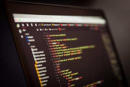 Code development screen. Web design concept.