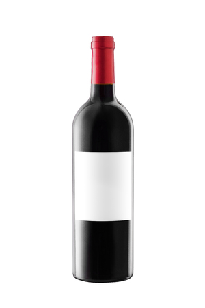 Red wine bottle with label