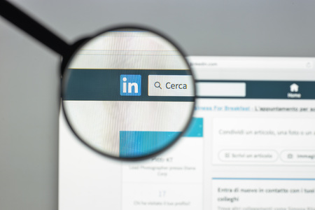 Milan, Italy - August 10, 2017: Linkedin website homepage. It is a business- and employment-oriented social networking service. Linkedin logo visible.