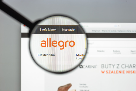 Milan, Italy - August 10, 2017: Allegro website homepage. It is a Polish online auction website.. Allegro.pl logo visible.
