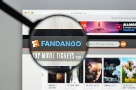 Milan, Italy - August 10, 2017: Fandango website homepage. It is an American corporation that sells movie tickets via the telephone and the Internet. Fandango logo visible. Editorial