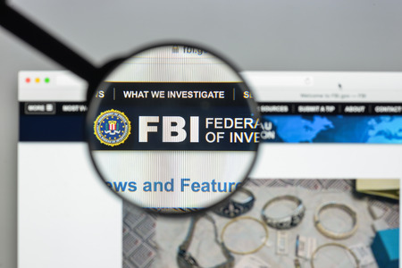 Milan, Italy - August 10, 2017: Fbi website homepage. It is the domestic intelligence and security service of the United States, and its principal federal law agency. FBI logo visible.