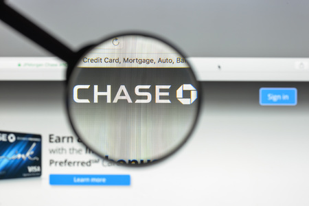 Milan, Italy - August 10, 2017: Chase bank website. It is a national bank that constitutes the consumer and commercial banking subsidiary of the U.S.  holding company, JPMorgan Chase