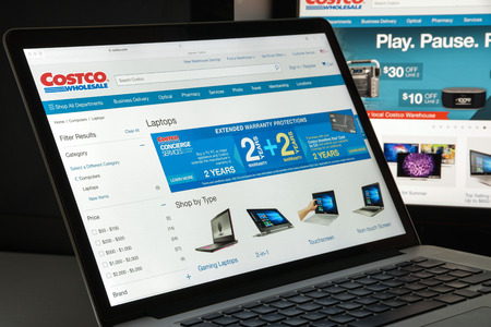 Milan, Italy - August 10, 2017: Costco.com website homepage. It is the largest American membership-only warehouse club. Costco logo visible.