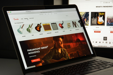 Milan, Italy - August 10, 2017: Fender website homepage. It is an American manufacturer of stringed instruments and amplifiers. Fender logo visible.