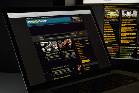 Milan, Italy - August 10, 2017: Ultimate guitar website homepage. Editorial