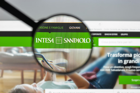 Milan, Italy - August 10, 2017: Intesa Sanpaolo bank website homepage. It is a banking group resulting from the merger between Banca Intesa and Sanpaolo IMI . Intesa Sanpaolo bank logo visible.