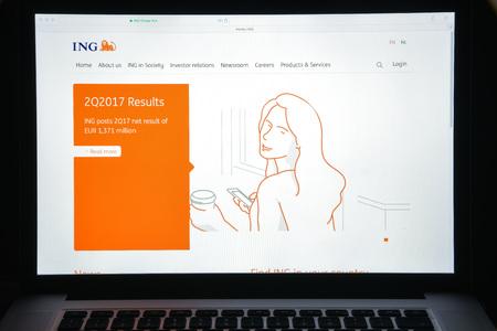 ミラノ, イタリア - 2017 年 8 月 10 日: ING グループの銀行の web サイトのホームページです。オランダの多国籍銀行金融サービス株式会社です。ING グル