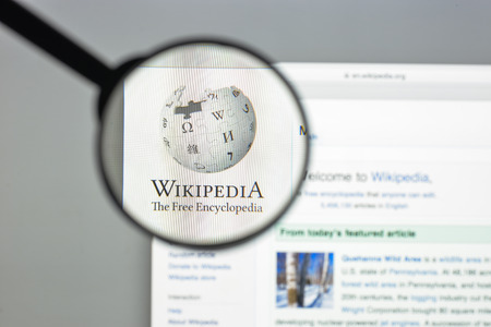 wiki wikipedia: Milan, Italy - August 10, 2017: Wikipedia website homepage. It is a free online encyclopedia with the aim to allow anyone to edit articles. Wikipedia logo visible.