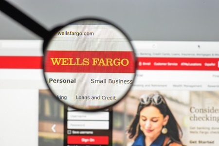 Milan, Italy - August 10, 2017: Wells Fargo website homepage. It is an American international banking and financial services holding company . Wells fargo logo visible.