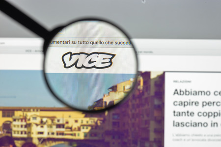 Milan, Italy - August 10, 2017: Vice.com website homepage. It is a print magazine and website focused on arts, culture, and news topics. Vice logo visible. Editorial