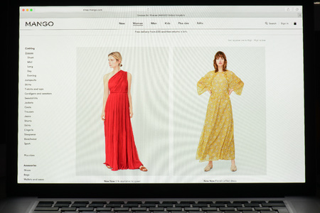 Milan, Italy - May 7, 2017: Mang brand website homepage. Its a fashion e-commerce store. Editorial