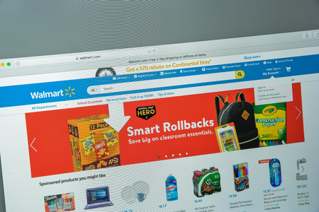 Milan, Italy - August 10, 2017: Walmart website homepage. It is an American multinational retailing corporation that operates as a chain of hypermarkets. Walmart logo visible.