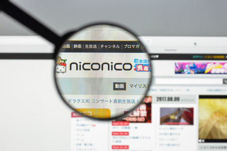 Milan, Italy - August 10, 2017: Nicovideo website homepage. It is a video sharing website in Japan. Niconico or nikoniko is the Japanese ideophone for smiling. Nico video logo visible.