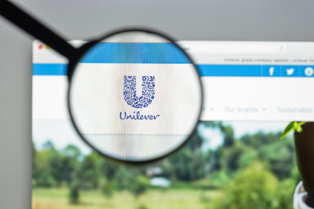 Milan, Italy - August 10, 2017: Unilever website homepage. It is a Dutch-British transnational consumer goods company. Unilever logo visible.