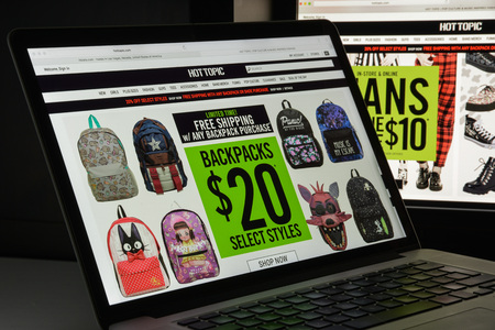 Milan, Italy - August 10, 2017: Hottopic.com website homepage. It is an American retail chain specializing in counterculture-related clothing and accessories. Hottopic logo visible.