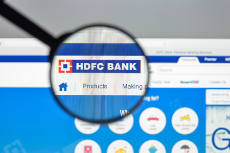 Milan, Italy - August 10, 2017: HDFC bank limited website homepage. It is an Indian banking and financial services company . HDFC limited bank logo visible.