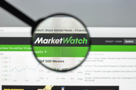 rate of return: Milan, Italy - August 10, 2017: Market watch website homepage. Marketwatch logo visible.