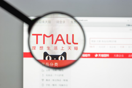 Milan, Italy - August 10, 2017: Tmall website. It formerly Taobao Mall, is a Chinese website for business-to-consumer (B2C) online retail, spun off from Taobao, operated  Alibaba Group. Tmall logo.