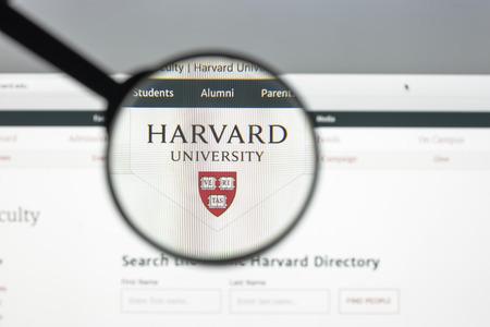 Milan, Italy - August 10, 2017: Harvard.edu website homepage. Harvard logo visible.