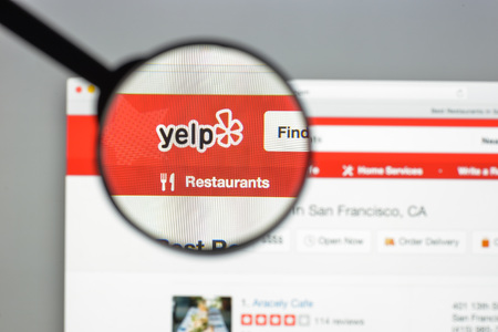 Milan, Italy - August 10, 2017: Yelp website homepage. It is an American multinational corporation. It develops, hosts and markets Yelp.com . Yelp logo visible. Redakční