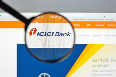 Milan, Italy - August 10, 2017: Icici bank website homepage. It is an Indian multinational banking and financial services. Icici bank logo visible.