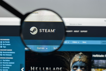 Milan, Italy - August 10, 2017: Steam store website. It is a digital platform by Valve Corporation. Offers digital rights management, multiplayer gaming, video streaming and social network. Steam logo
