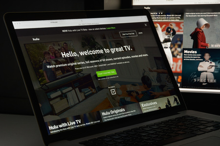 Milan, Italy - August 10, 2017: Hulu website homepage. It is an American subscription video on demand service owned by Hulu LLC. Hulu logo visible.