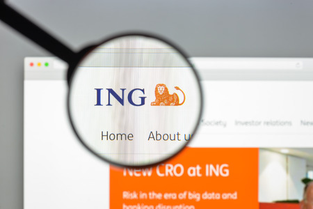 Milan, Italy - August 10, 2017: ING group bank website homepage. It is a Dutch multinational banking and financial services corporation. ING group logo visible.