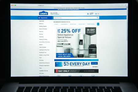 Milan, Italy - August 10, 2017: Lowes website homepage. It is American company that operates a chain of retail home improvement and appliance stores. Lowes logo visible.