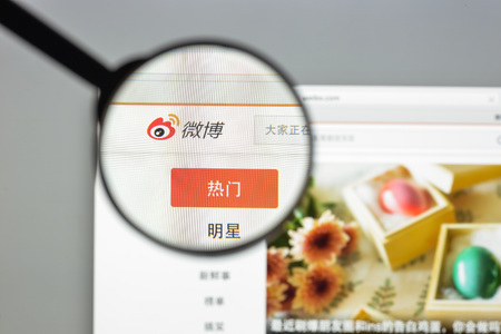 Milan, Italy - August 10, 2017: Weibo website homepage. It is the social network company which is providing the Chinese microblogging website Sina Weibo, based in Beijing, China.. Weibo logo visible.