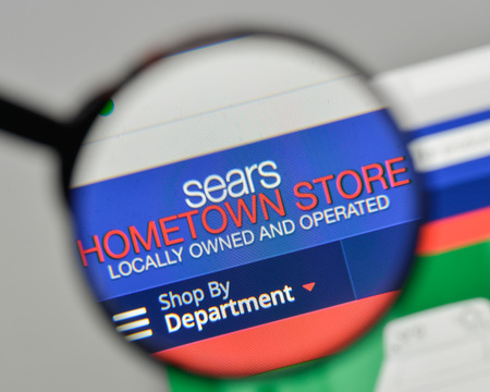 Milan, Italy - November 1, 2017: Sears Hometown & Outlet Stores logo on the website homepage.
