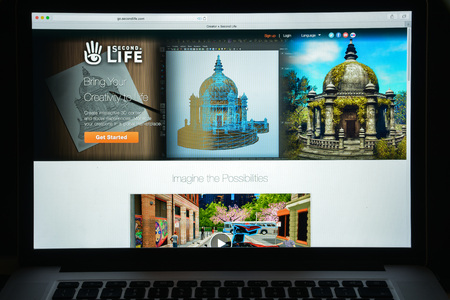 Milan, Italy - August 10, 2017: Second life website homepage. It is an online virtual world, developed and owned by the San Francisco-based firm Linden Lab. Second life logo visible.