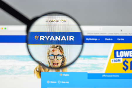 Milan, Italy - August 10, 2017: Ryanair website homepage. It is an Irish low-cost airline founded in 1984. Ryanair logo visible.
