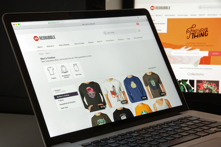Milan, Italy - August 10, 2017: Redbubble website homepage. It is a global online marketplace for print on demand products based on user submitted artwork. Redbubble logo visible. Editorial