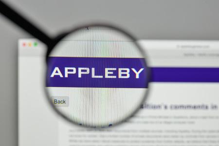 Milan, Italy - November 1, 2017: Appleby Global Financial Off shore logo on the website homepage. Redactioneel