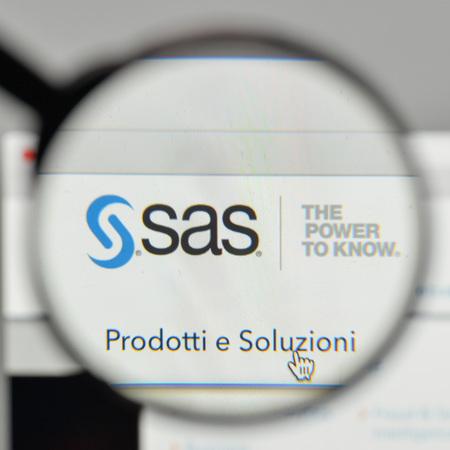 Milan, Italy - November 1, 2017: SAS Institute logo on the website homepage. Editorial