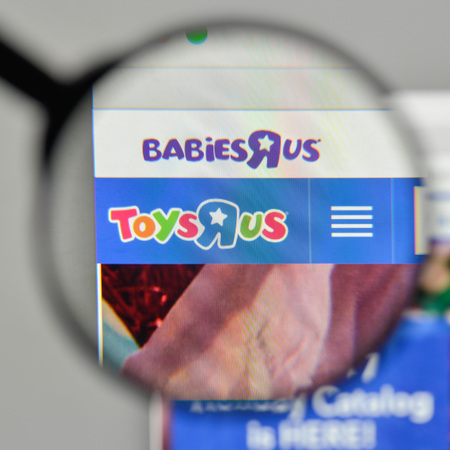 Milan, Italy - November 1, 2017: Toys R Us logo on the website homepage. Editorial