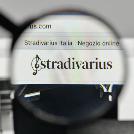 Milan, Italy - November 1, 2017: Stradivarius logo on the website homepage. Editorial