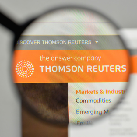 Milan, Italy - November 1, 2017: Thomson Reuters logo on the website homepage. Editorial