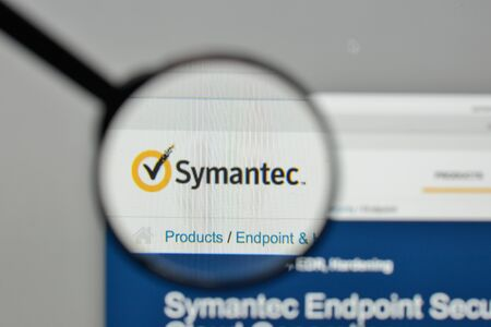 Milan, Italy - November 1, 2017: Symantec logo on the website homepage.